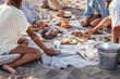 canvas print picture - People Enjoying Food on Beach Picnic