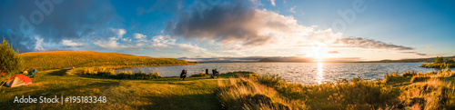 Tuinposter Kamperen Panoramic view of sunset at Myvatn lake on Iceland, summer