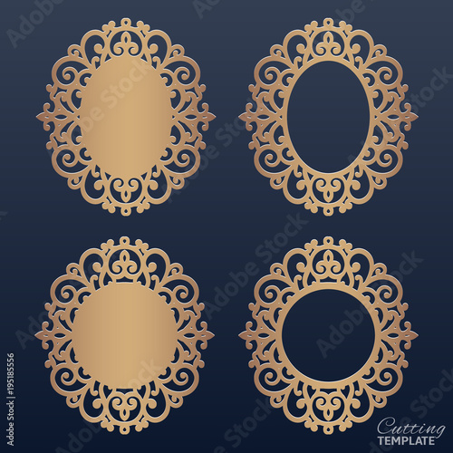 bfb09af48ca2 Laser or die cut vector frame collection. Set of abstract oval and round  frames with swirls