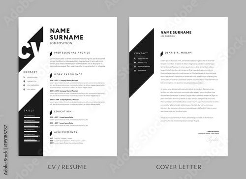 minimalist cv    resume and cover letter - minimal design