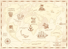 Vintage World Map With Compass And Mountains. Sea Creatures In The Ocean. Aged Treasure. Marine Captain And Anchor, Nautical Pirates. Old Retro Parchment. Engraved Hand Drawn, Mainland And Island.