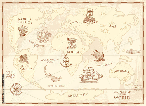 Vintage world map with compass and mountains. Sea creatures ...