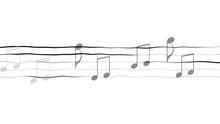 Abstract Illustration Of Music Notes On Sheet, Composing App, White Background