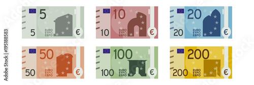 Fotografie, Obraz  alle Geldscheine - Euro Banknoten - 5 - 10 - 20 - 50 - 100 - 200