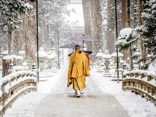 Fotografie, Obraz Japanese monks in winter, koyasan
