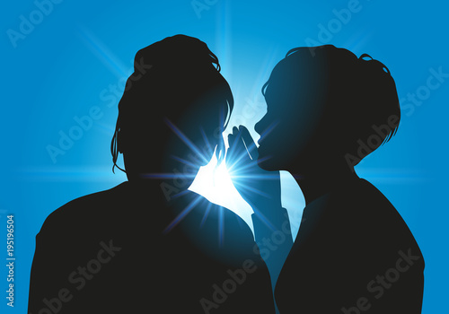 Fototapeta Secret - confidence - confidentiel - rumeur - amie - femme - cancan - informatio