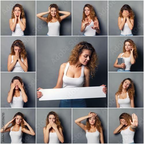 Valokuva  Emotions set of young woman at studio background