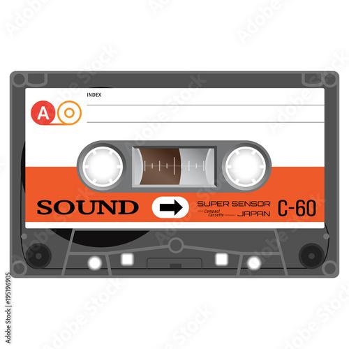 Fotomural Audio cassette tape illustration isolated on white.
