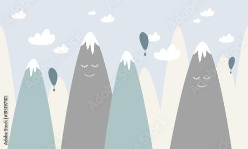 Graficzna ilustracja dla dzieci. Góry