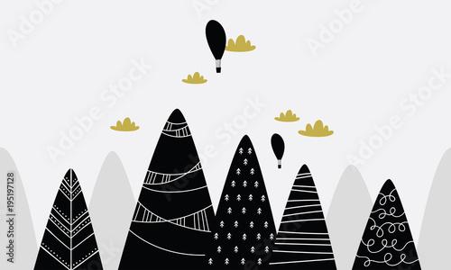 czarne-wzorzyste-gory-i-dwa-balony-na-gorace-powietrze