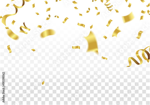 Fototapeta Golden Party Flags With Confetti And Ribbon Falling On White Background. Celebration Event & Birthday. Vector obraz na płótnie