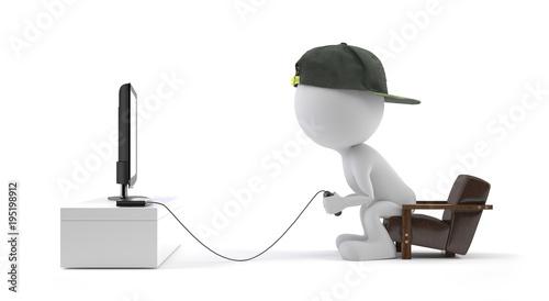 Fotografía Spielsucht - Süchtiger Junge sitzt mit seinem Controller in der hand vorm Fernse