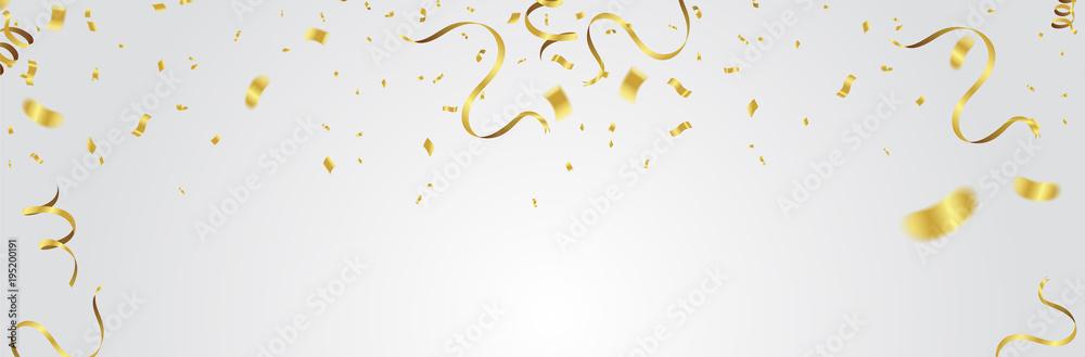 Fototapeta Gold balloons, confetti and streamers on white background. Vector illustration. - obraz na płótnie
