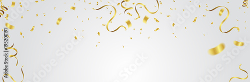 Obraz Gold balloons, confetti and streamers on white background. Vector illustration. - fototapety do salonu