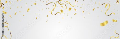 Fototapeta Gold balloons, confetti and streamers on white background. Vector illustration. obraz na płótnie