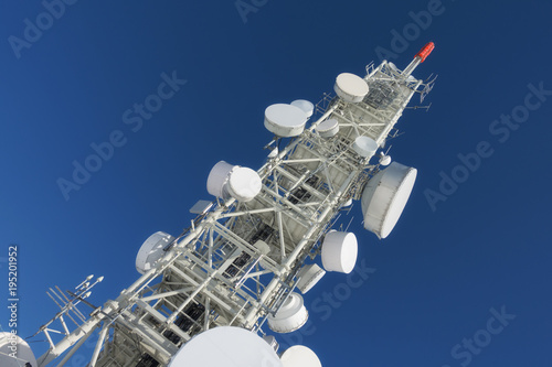 Valokuva  Telecommunication tower with dish antennas