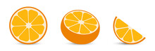 Oranges With Orange Slice And Half Orange. Citrus