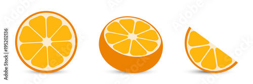 Fotografia Oranges with orange slice and half orange. Citrus