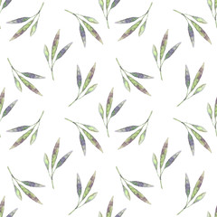 Fototapeta Seamless pattern with watercolor leaves