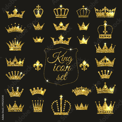 Fotografia, Obraz Gold crown set. Glitters set of king crowns.