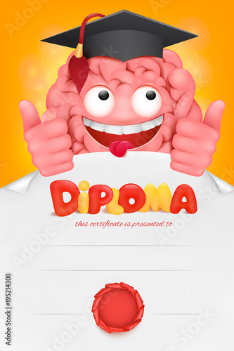 Brain Cartoon Character Diploma Cert Template Buy This Stock