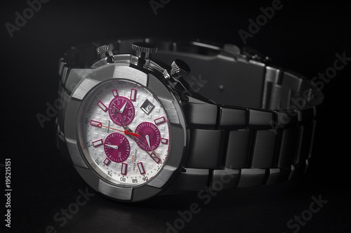 Fotografie, Obraz  wrist watch on a dark background