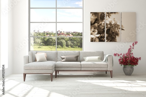 Fototapety, obrazy: Idea of white room with sofa and summer landscape in window. Scandinavian interior design. 3D illustration