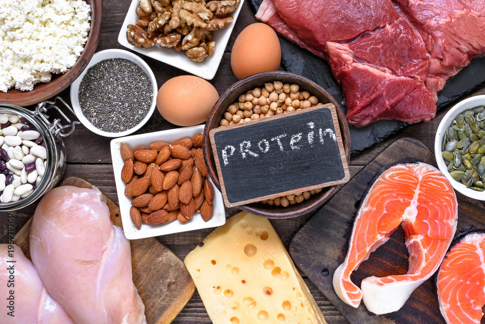 Fototapeta selection food sources of protein. healthy diet eating concep