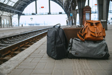 Bags At Railway Station Near Railroad