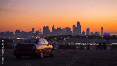 The Car with City Skyline Sun Rise, Dallas, TX