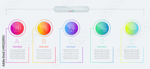 Photo  business infographic template with 5 options