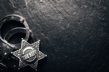 Sheriff Star And Handcuffs On ...