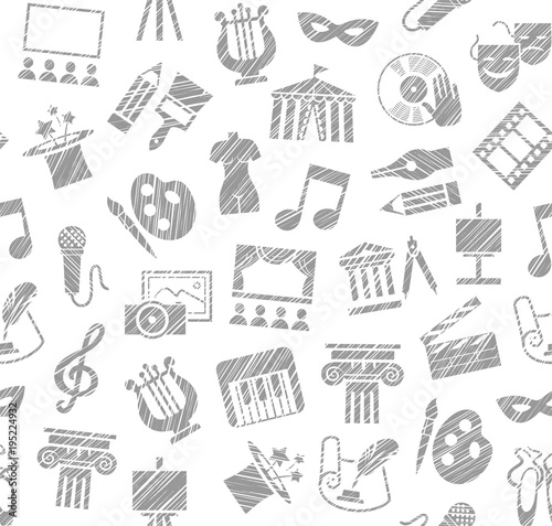 Culture and art, seamless pattern, shading pencil, white, vector. Leisure and cultural activities. Cultural events and the attributes of art. Gray icons on a white field.
