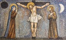 CARAVAGGIO, ITALY - 24-8-2016. Mosaic : Crucifixion
