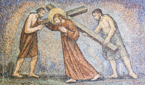 Fotografie, Obraz  CARAVAGGIO, ITALY - 24-8-2016. Mosaic : Via crucis