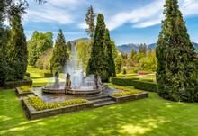 Fountain In The Botanical Garden Of Villa Taranto, Pallanza, Verbania, Italy.