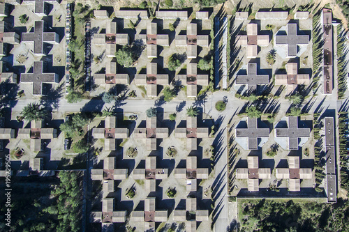 Spoed Foto op Canvas Begraafplaats Cemetery. Aerial view.