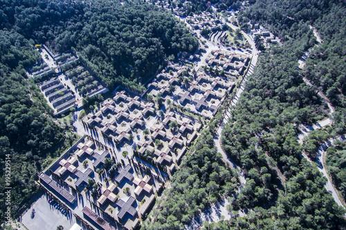 Keuken foto achterwand Begraafplaats Cemetery. Aerial view.