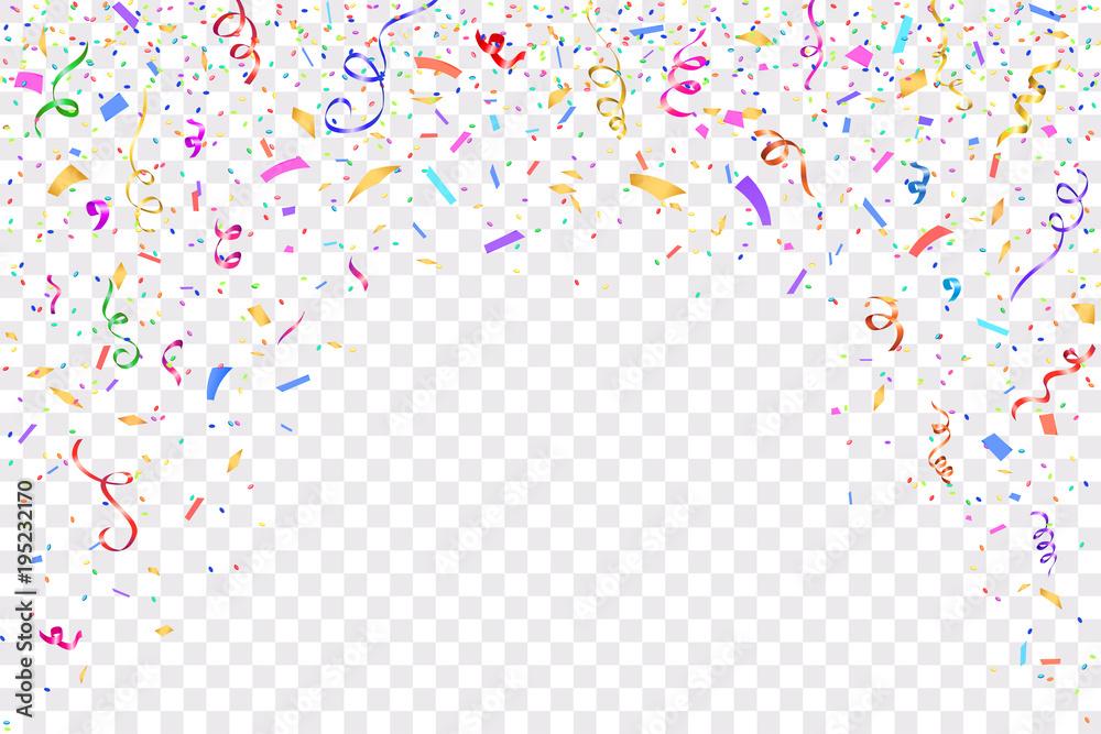 Fototapeta Festive design. Border of colorful bright confetti isolated on transparent background. Party decoration frame for birthday, anniversary, celebration. Vector illustration, eps 10.
