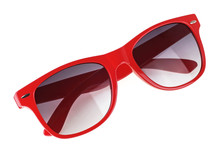 Red Sun Glasses Isolated Over White Background