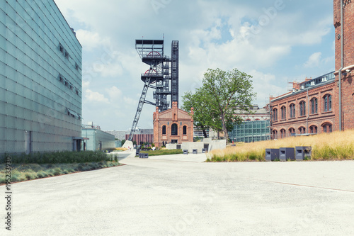 Katowice in Poland / Industrial landscape the old mine shaft