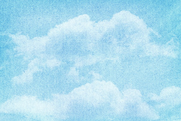 FototapetaBlue painted watercolor clouds and sky.