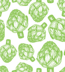 FototapetaHand drawn vector illustration of artichoke sketch style. Seamless pattern with vegetables. Appetizing colors