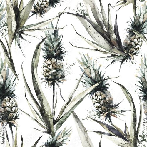 wzor-z-ananasami-i-liscmi-akwarela-ilustracja-tropikalny-lato-botaniczna-konsystencja-w-odcieniach-brazu-monochromatyczny-design-moze-byc-uzyte