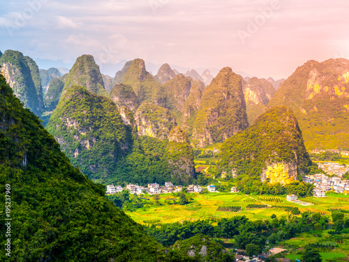 Panoramic view of landscape with karst peaks around Yangshuo County and Li River, Guangxi Province, China.