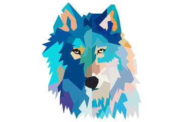 Fototapeta head of a wolf.  low poly. black background