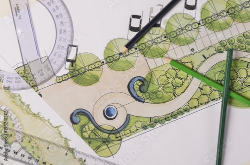 Aluminium Prints Garden Garden drawings on white paper