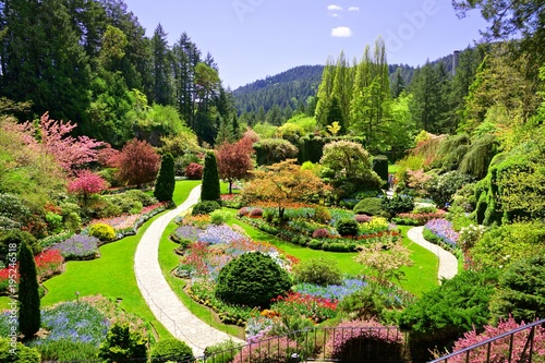 Autocollant pour porte Jardin Butchart Gardens, Victoria, Canada. View over the colorful flowers of the sunken garden at springtime.