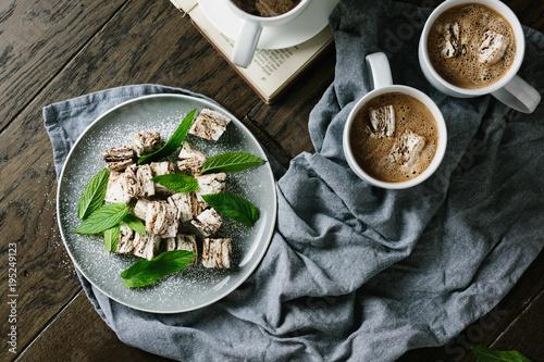Foto op Aluminium Snoepjes Mint Chocolate Rippled Marshmallows with hot chocolate