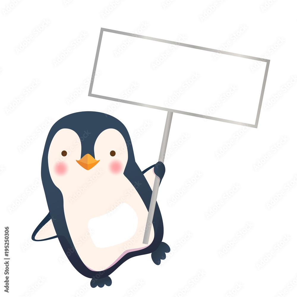 penguin holding sign